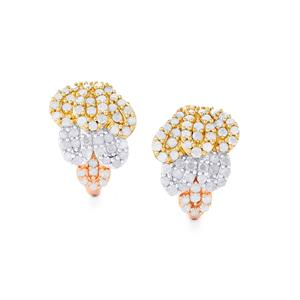 Diamond Earrings in Three Tone Gold Plated Sterling Silver 1ct