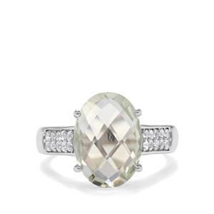 Prasiolite & White Topaz Sterling Silver Ring ATGW 5.57cts