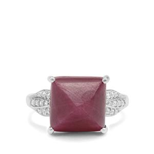 Bharat Ruby & White Zircon Sterling Silver Ring ATGW 13.20cts