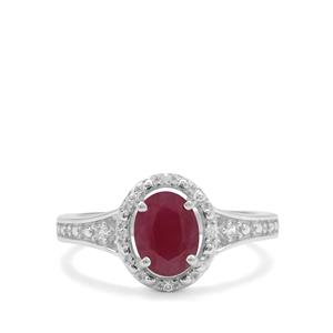 Bharat Ruby Ring with White Zircon in Sterling Silver 1.95cts