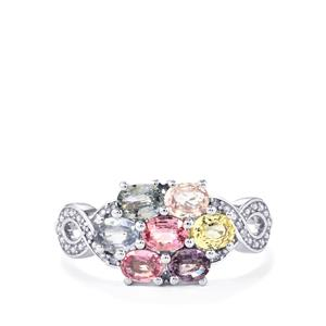 Natural Sakaraha Rainbow Sapphire Ring with Diamond in 9K White Gold 1.66cts