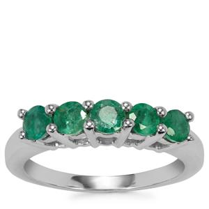 Luhlaza Emerald Ring in Sterling Silver 0.83cts