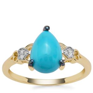 Sleeping Beauty Turquoise Ring with Diamond in 9K Gold 1.85cts