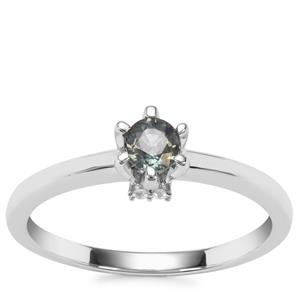Tanzanian Colour Change Garnet Ring with White Zircon in Sterling Silver 0.42ct