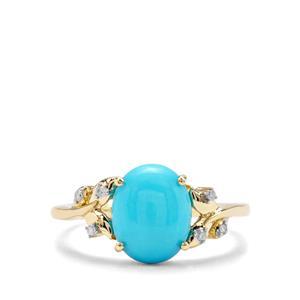 Sleeping Beauty Turquoise & Diamond 9K Gold Ring ATGW 2.27cts