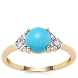 Sleeping Beauty Turquoise Ring with Diamond in 9K Gold 1.40cts