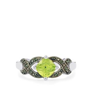 Changbai Peridot Ring with Green Diamond in Sterling Silver 1.07cts