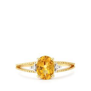 Xia Heliodor & White Zircon 9K Gold Ring ATGW 1.11cts