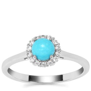 Sleeping Beauty Turquoise Ring with White Zircon in Sterling Silver 0.70ct