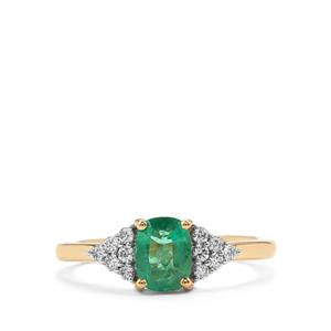 Zambian Emerald Ring with Diamond in 18K Gold 0.88cts