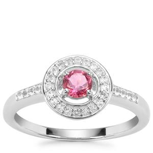 Pink Tourmaline Ring with White Topaz in Sterling Silver 0.43cts