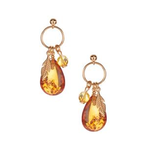 Baltic Cognac Amber Earrings with Baltic Champagne Amber in Gold Tone Sterling Silver