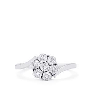 1/10ct Diamond Sterling Silver Halo Diamond Ring