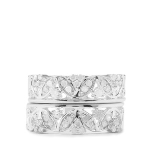 1/2ct White Diamond Sterling Silver Stacker Ring