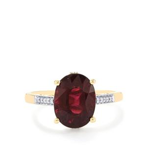 Malawi Garnet Ring with Diamond in 14k Gold 4.63cts