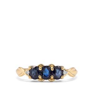 Australian Blue Sapphire & Diamond 9K Gold Ring ATGW 1.10cts