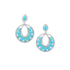 Sleeping Beauty Turquoise & White Zircon Sterling Silver Earrings ATGW 8.32cts