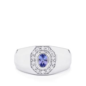 Tanzanite Ring with White Topaz in Sterling Silver 0.77ct