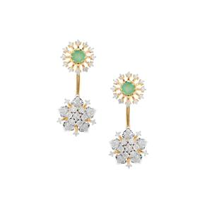 Sakota Emerald Earrings with Diamond in Gold Plated Sterling Silver 0.96ct