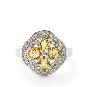 Amarelo Beryl & White Topaz Sterling Silver Ring ATGW 1.30cts