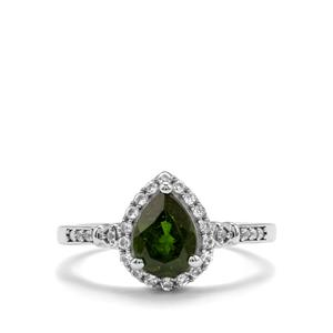 Chrome Diopside Ring with White Topaz in Sterling Silver 1.40cts