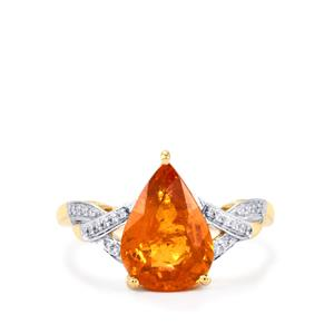 Mandarin Garnet Ring with Diamond in 18k Gold 3.82cts