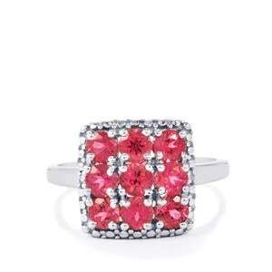 Cruzeiro Rubellite Ring with Diamond in Sterling Silver 1.56cts