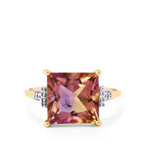 Anahi Ametrine Ring with White Zircon in 10k Gold 4.63cts