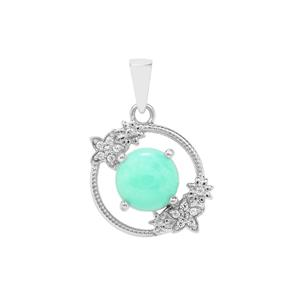 Prase Green Opal Pendant with White Zircon in Sterling Silver 3.80cts