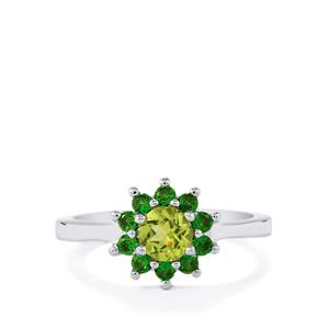 Changbai Peridot Ring with Chrome Diopside in Sterling Silver 1cts