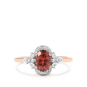 Zanzibar Zircon Ring with Diamond in 18K Rose Gold 1.29cts