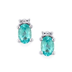 Madagascan Blue Apatite & White Topaz Sterling Silver Earrings ATGW 1.05cts