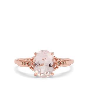 Mozambique Morganite & Champagne Diamond 9K Rose Gold Ring ATGW 1.63cts