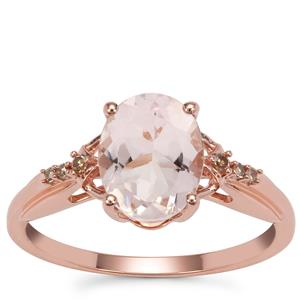 Mozambique Morganite Ring with Champagne Diamond in 9K Rose Gold 1.63cts