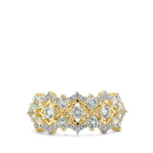 Aquaiba™ Beryl & White Zircon 9K Gold Ring ATGW 0.91ct