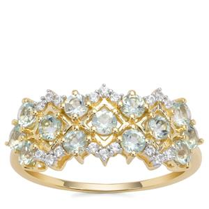 Aquaiba™ Beryl Ring with White Zircon in 9K Gold 0.91cts