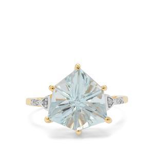 Alpine Cut Nigerian Aquamarine Ring with Diamond in 9K Gold 4.40cts