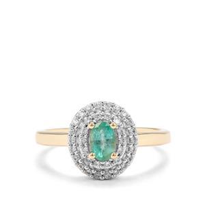 Zambian Emerald & White Zircon Midas Ring ATGW 0.86cts