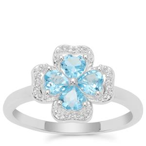 Swiss Blue Topaz Ring with White Zircon in Sterling Silver 0.92ct