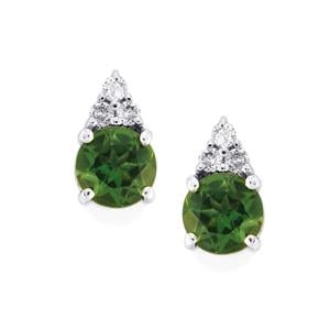 Mandrare Green Apatite & White Zircon Sterling Silver Earrings ATGW 1.20cts