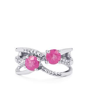 Ilakaka Hot Pink Sapphire & White Topaz Sterling Silver Ring ATGW 1.53cts (F)