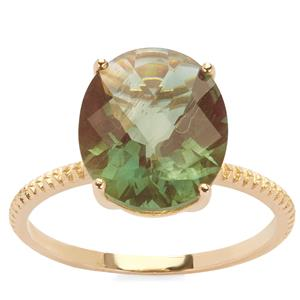 Green Andesine Ring in 9K Gold 3.81cts