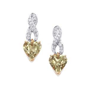 Csarite® & Diamond 18K Gold Earrings MTGW 4.10cts