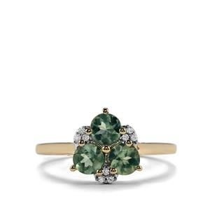 Alexandrite Ring with White Zircon in 10K Gold 1.19cts