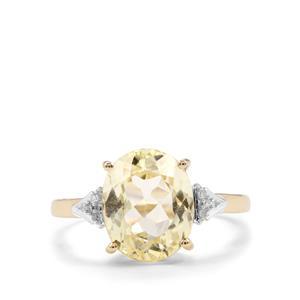 Canary Kunzite & Diamond 9K Gold Ring ATGW 4.32cts