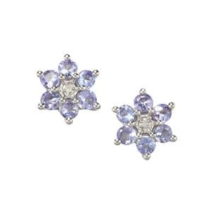 Tanzanite Earrings with Diamond in Sterling Silver 1.69cts