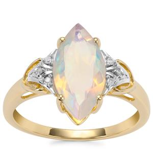 Ethiopian Opal Ring with Diamond in 9K Gold 1.60cts