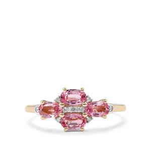 Sakaraha Pink Sapphire & Diamond 10K Gold Ring ATGW 1.24cts.