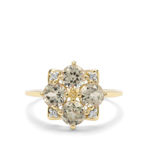 Csarite® Ring with Diamond in 9K Gold 2.22cts