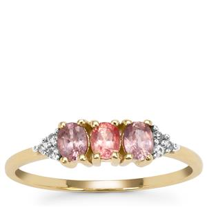 Padparadscha Sapphire Ring with White Zircon in 9K Gold 0.75ct